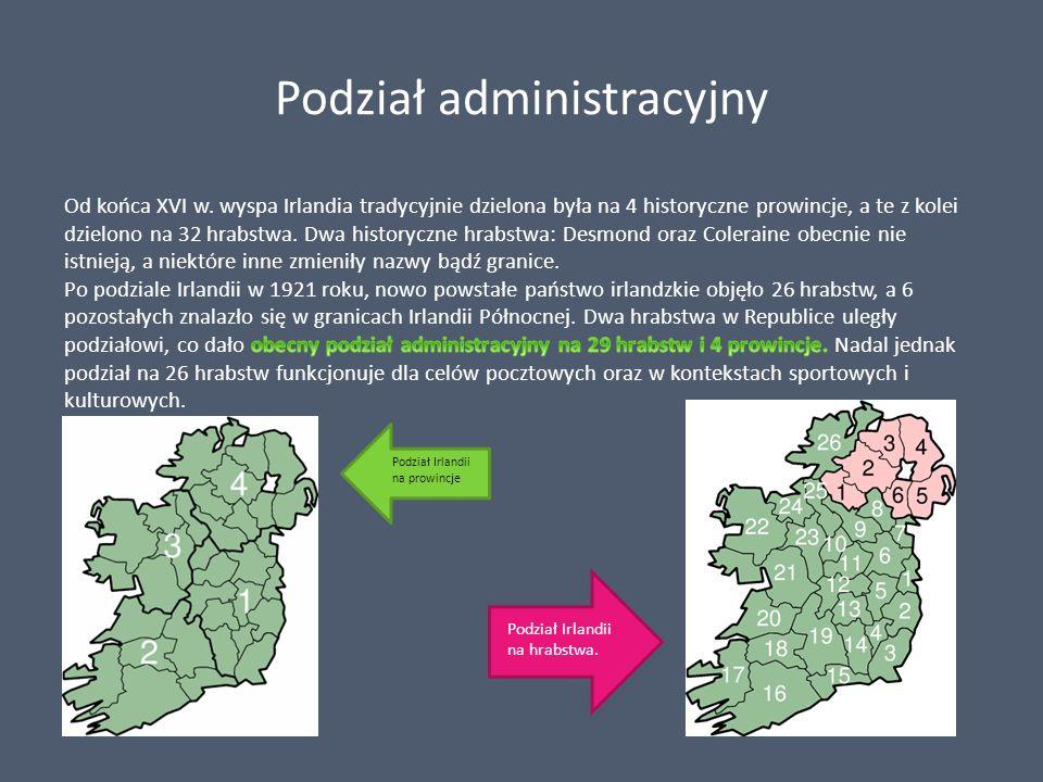 Podział administracyjny Podział Irlandii na prowincje Podział Irlandii na hrabstwa.