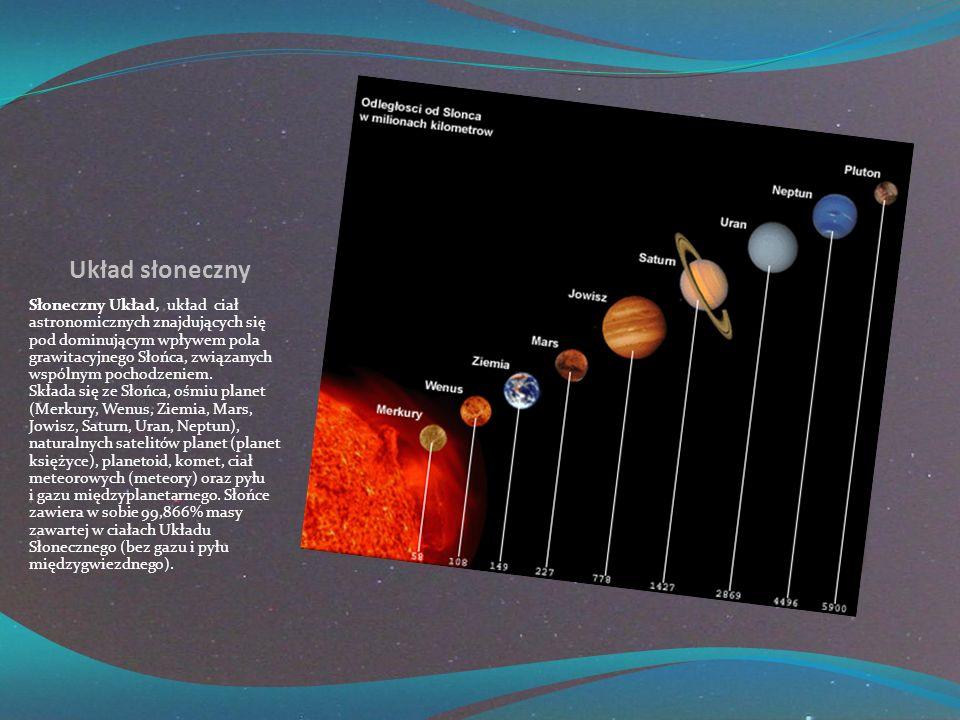 Układ słoneczny Słoneczny Układ, układ ciał astronomicznych znajdujących się pod dominującym wpływem pola grawitacyjnego Słońca, związanych wspólnym pochodzeniem.