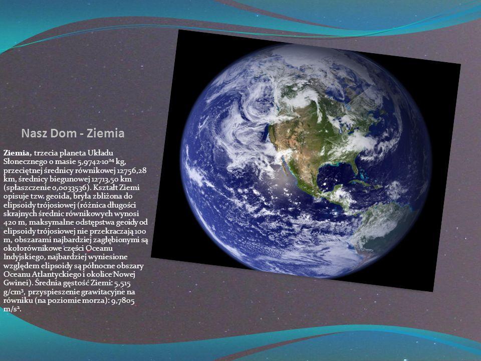 Nasz Dom - Ziemia Ziemia, trzecia planeta Układu Słonecznego o masie 5,9742·10 24 kg, przeciętnej średnicy równikowej 12756,28 km, średnicy biegunowej 12713,50 km (spłaszczenie 0,0033536).