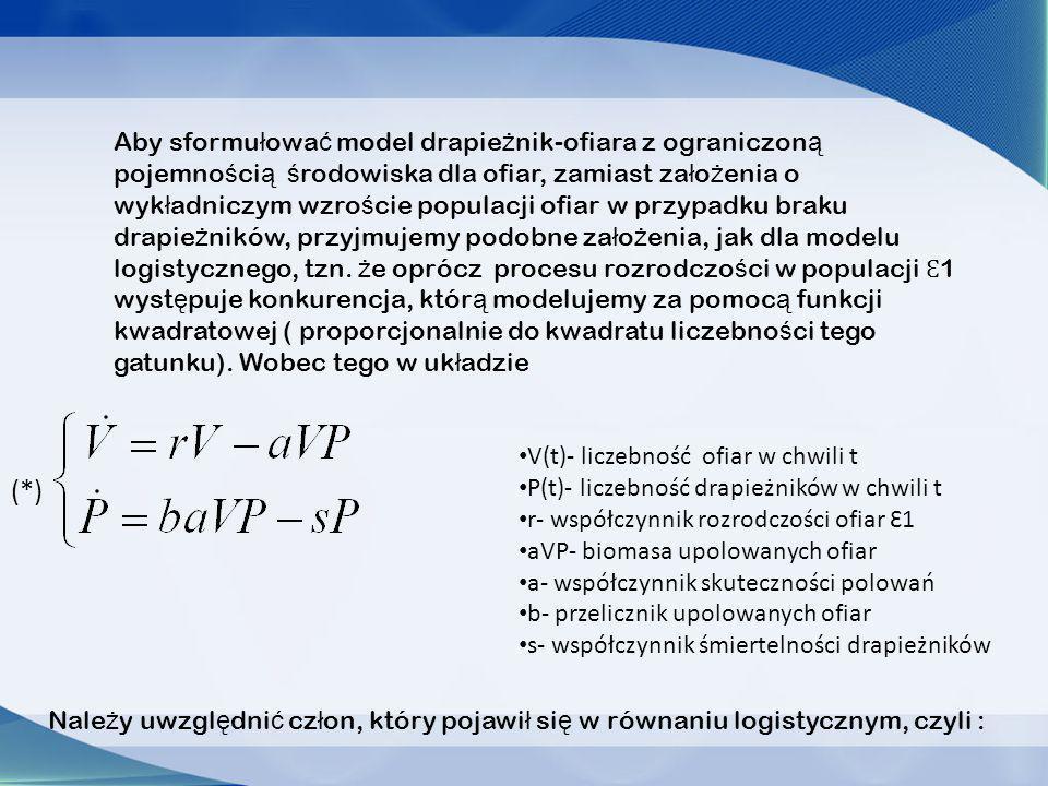 K- opisuje pojemność środowiska dla gatunku Ԑ1, analogicznie jak w modelu logistycznym Równania stacjonarne, założenia : V0 i P0.