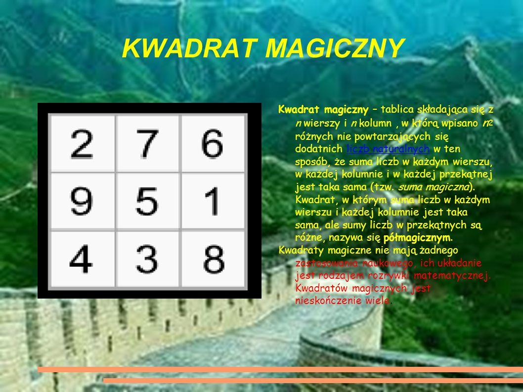 KWADRAT MAGICZNY Kwadrat magiczny – tablica składająca się z n wierszy i n kolumn, w którą wpisano n 2 różnych nie powtarzających się dodatnich liczb