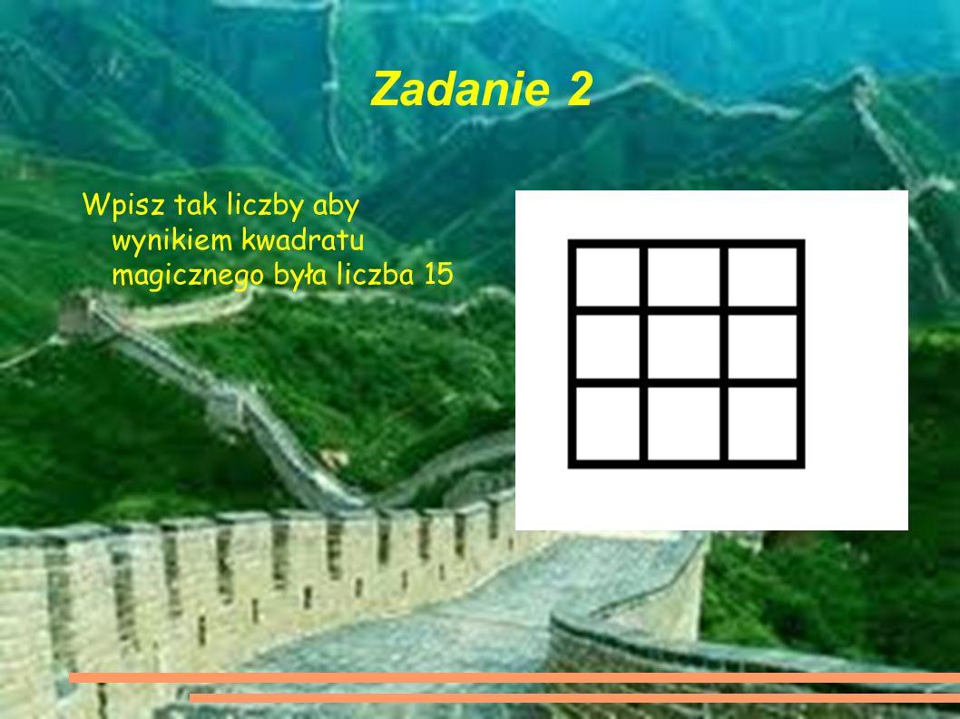 Zadanie 2 Wpisz tak liczby aby wynikiem kwadratu magicznego była liczba 15