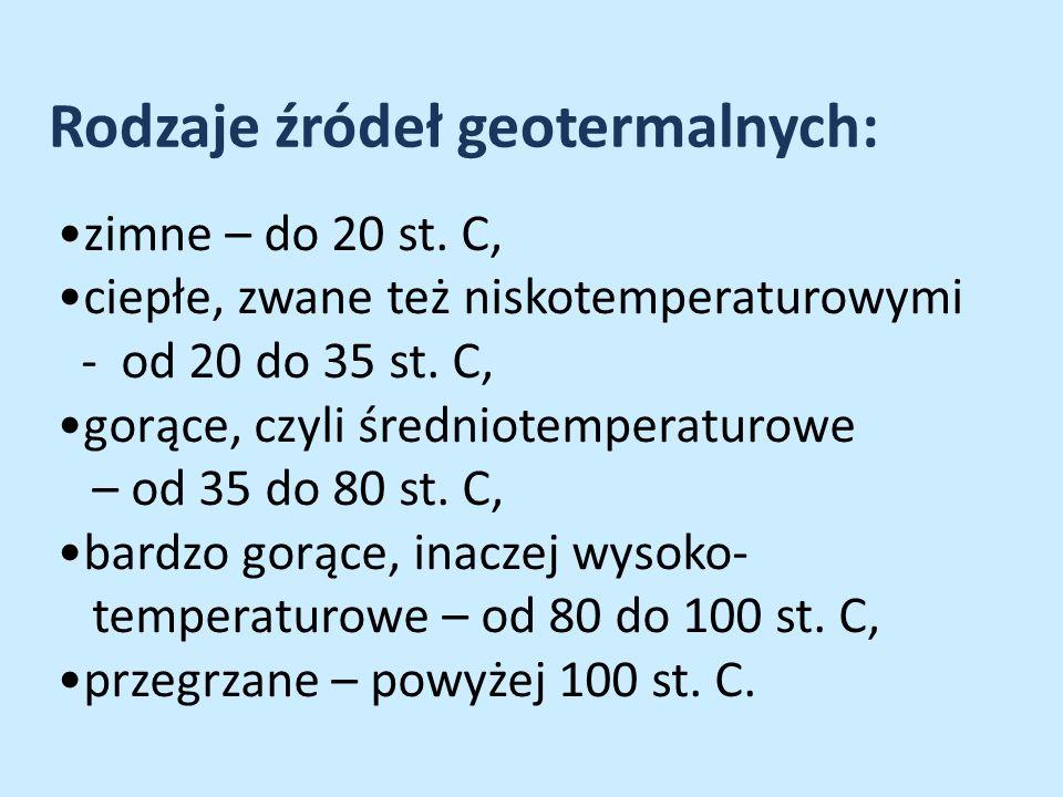 Rodzaje źródeł geotermalnych: zimne – do 20 st. C, ciepłe, zwane też niskotemperaturowymi - od 20 do 35 st. C, gorące, czyli średniotemperaturowe – od