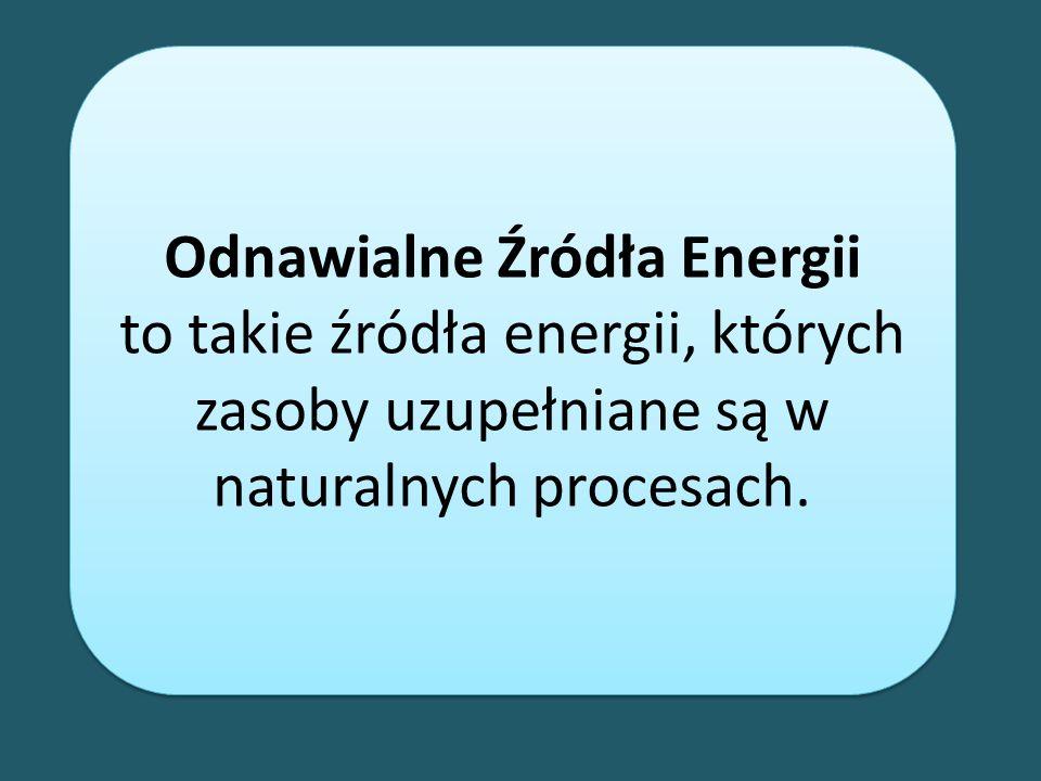 Odnawialne Źródła Energii to takie źródła energii, których zasoby uzupełniane są w naturalnych procesach. Odnawialne Źródła Energii to takie źródła en