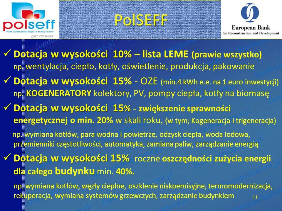 PolSEFF 11 Dotacja w wysokości 10% Dotacja w wysokości 10% – lista LEME (prawie wszystko) np. wentylacja, ciepło, kotły, oświetlenie, produkcja, pakow