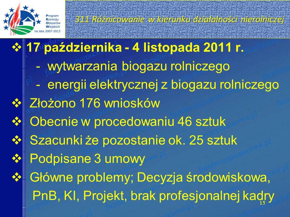 311 Różnicowanie w kierunku działalności nierolniczej 15 17 października - 4 listopada 2011 r. - wytwarzania biogazu rolniczego - energii elektrycznej