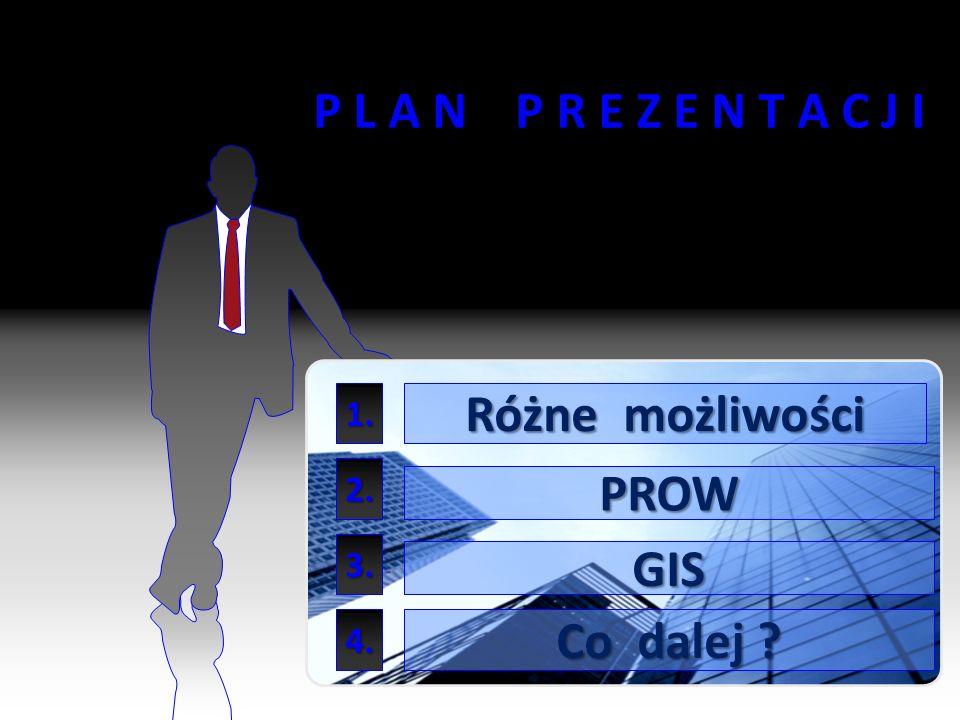 2 P L A N P R E Z E N T A C J I Różne możliwości GIS Co dalej ? 1. PROW 2. 3. 4.