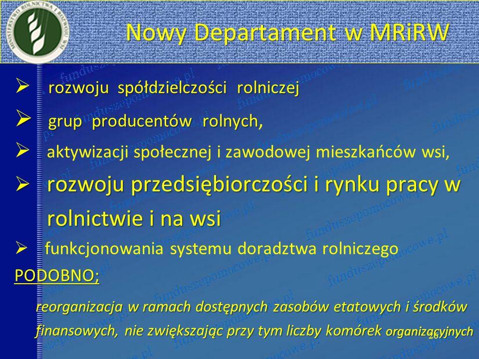Nowy Departament w MRiRW Nowy Departament w MRiRW rozwoju spółdzielczości rolniczej grup producentów rolnych grup producentów rolnych, aktywizacji spo