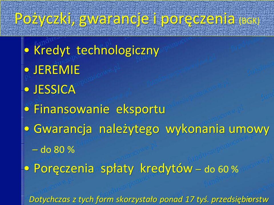 Pożyczki, gwarancje i poręczenia Pożyczki, gwarancje i poręczenia (BGK) Kredyt technologicznyKredyt technologiczny JEREMIEJEREMIE JESSICAJESSICA Finan