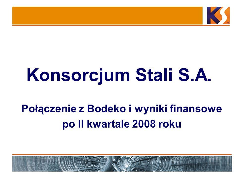 Konsorcjum Stali S.A. Połączenie z Bodeko i wyniki finansowe po II kwartale 2008 roku