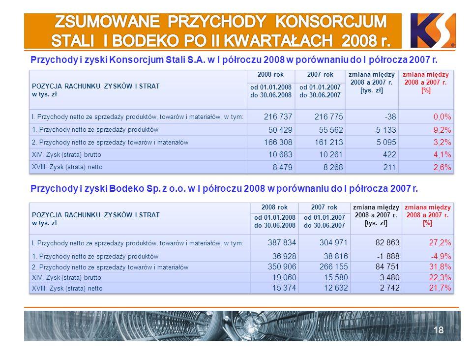 18 Przychody i zyski Konsorcjum Stali S.A. w I półroczu 2008 w porównaniu do I półrocza 2007 r. Przychody i zyski Bodeko Sp. z o.o. w I półroczu 2008