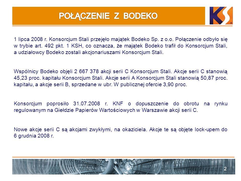 2 1 lipca 2008 r. Konsorcjum Stali przejęło majątek Bodeko Sp. z o.o. Połączenie odbyło się w trybie art. 492 pkt. 1 KSH, co oznacza, że majątek Bodek