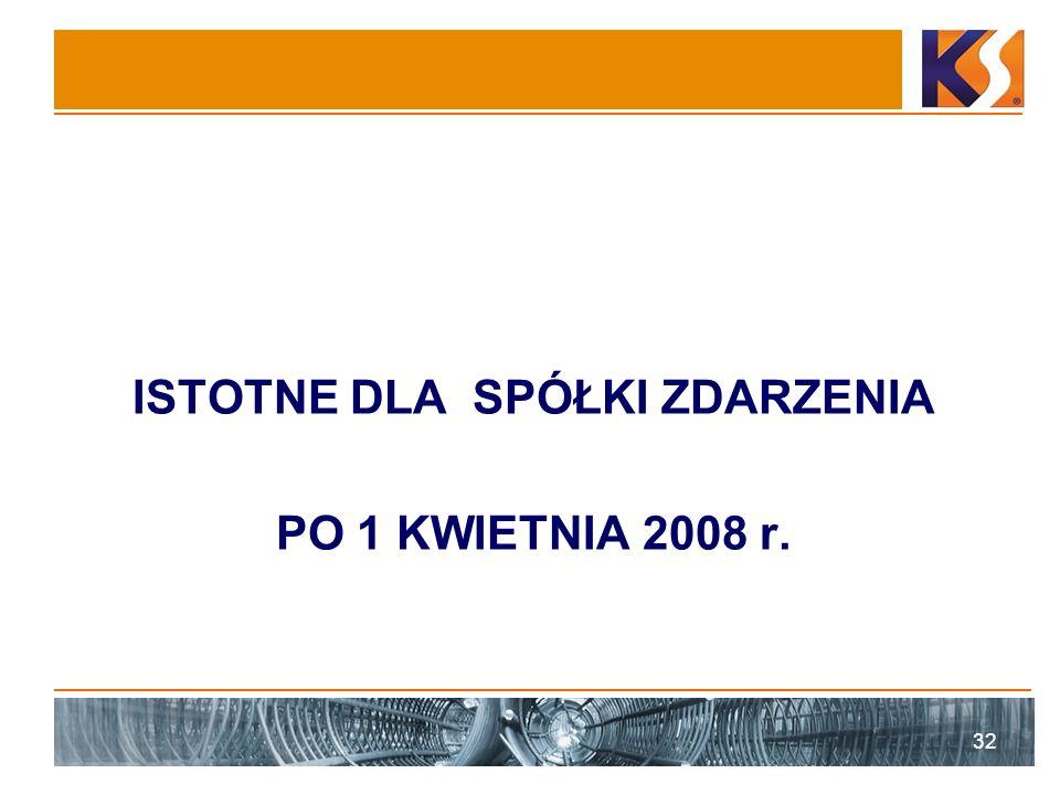 ISTOTNE DLA SPÓŁKI ZDARZENIA PO 1 KWIETNIA 2008 r. 32