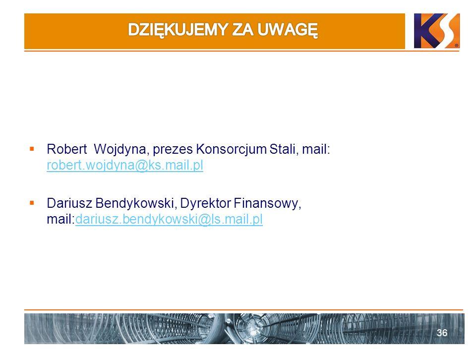 Robert Wojdyna, prezes Konsorcjum Stali, mail: robert.wojdyna@ks.mail.pl robert.wojdyna@ks.mail.pl Dariusz Bendykowski, Dyrektor Finansowy, mail:dariu