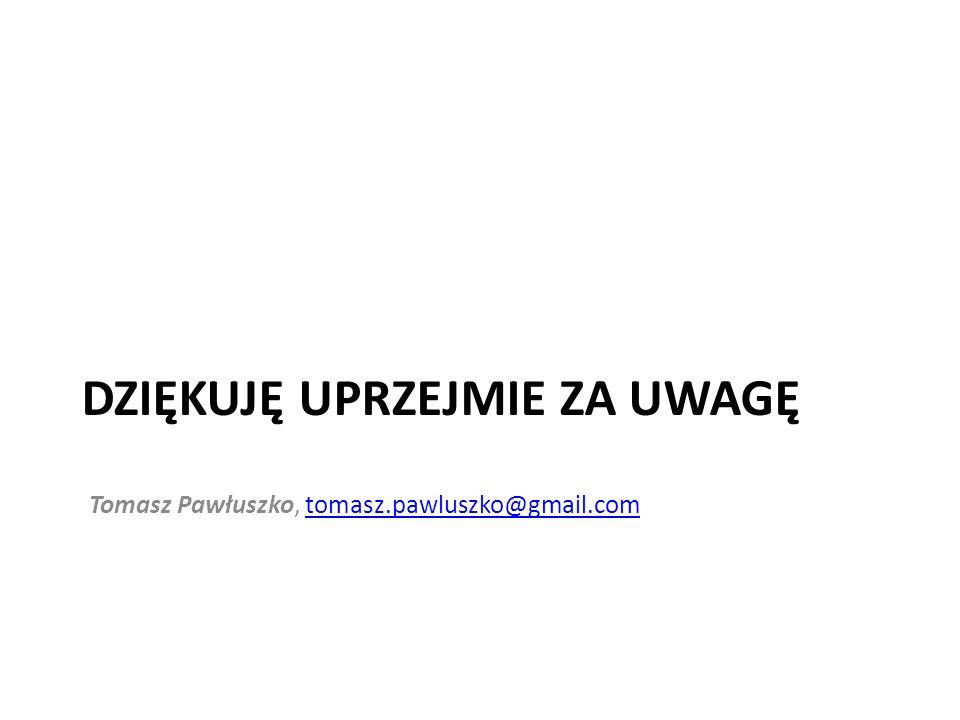 DZIĘKUJĘ UPRZEJMIE ZA UWAGĘ Tomasz Pawłuszko, tomasz.pawluszko@gmail.comtomasz.pawluszko@gmail.com