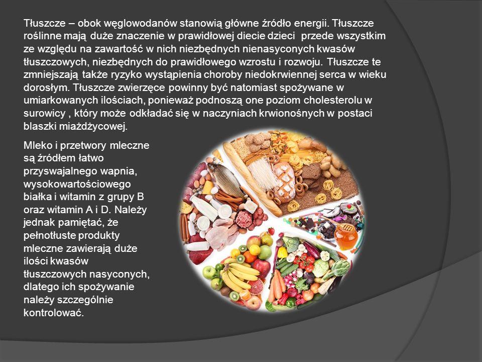 Tłuszcze – obok węglowodanów stanowią główne źródło energii. Tłuszcze roślinne mają duże znaczenie w prawidłowej diecie dzieci przede wszystkim ze wzg