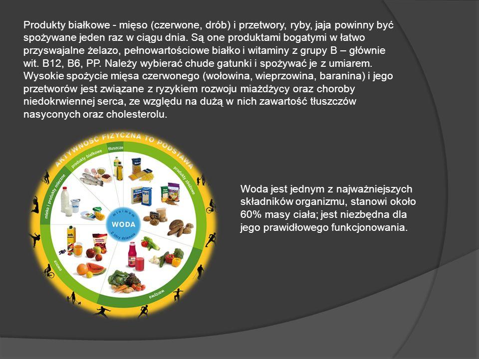 Produkty białkowe - mięso (czerwone, drób) i przetwory, ryby, jaja powinny być spożywane jeden raz w ciągu dnia. Są one produktami bogatymi w łatwo pr