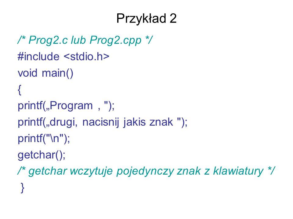 Przykład 2 /* Prog2.c lub Prog2.cpp */ #include void main() { printf(Program,