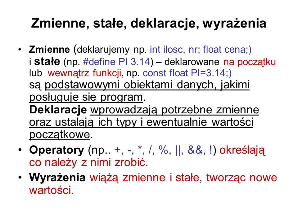 Zmienne, stałe, deklaracje, wyrażenia Zmienne ( deklarujemy np. int ilosc, nr; float cena;) i stałe (np. #define PI 3.14) – deklarowane na początku lu