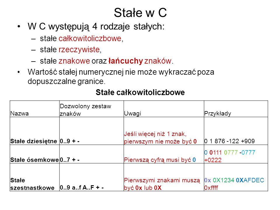 Stałe w C W C występują 4 rodzaje stałych: –stałe całkowitoliczbowe, –stałe rzeczywiste, –stałe znakowe oraz łańcuchy znaków. Wartość stałej numeryczn