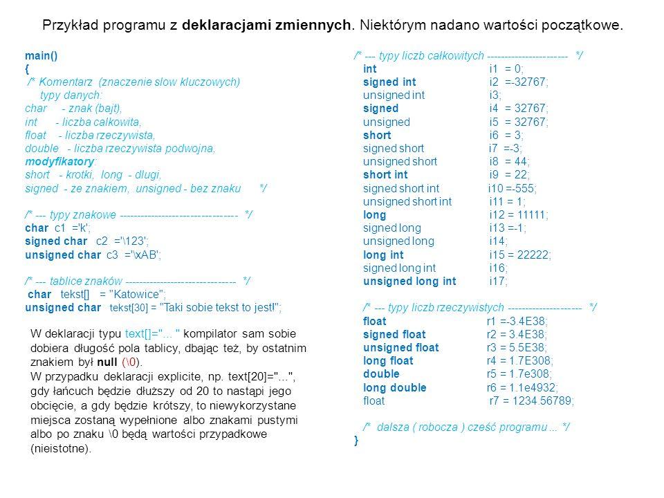 Przykład programu z deklaracjami zmiennych. Niektórym nadano wartości początkowe. main() { /* Komentarz (znaczenie slow kluczowych) typy danych: char