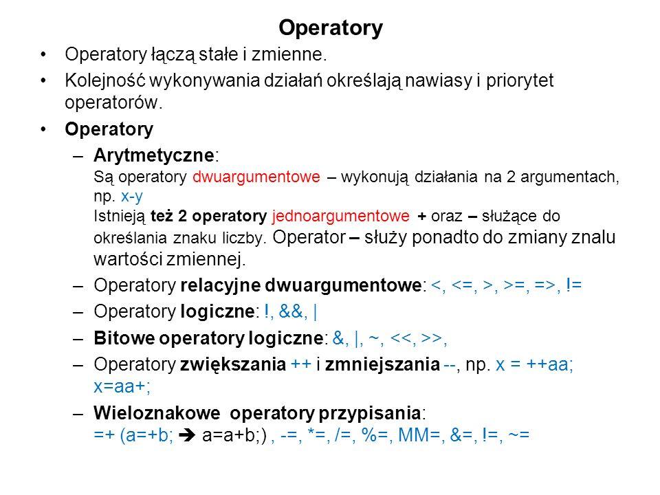 Operatory Operatory łączą stałe i zmienne. Kolejność wykonywania działań określają nawiasy i priorytet operatorów. Operatory –Arytmetyczne: Są operato