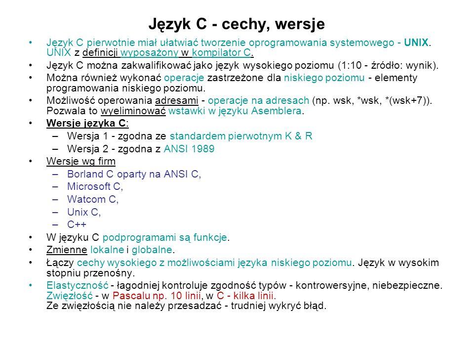 Język C - cechy, wersje Język C pierwotnie miał ułatwiać tworzenie oprogramowania systemowego - UNIX. UNIX z definicji wyposażony w kompilator C. Języ