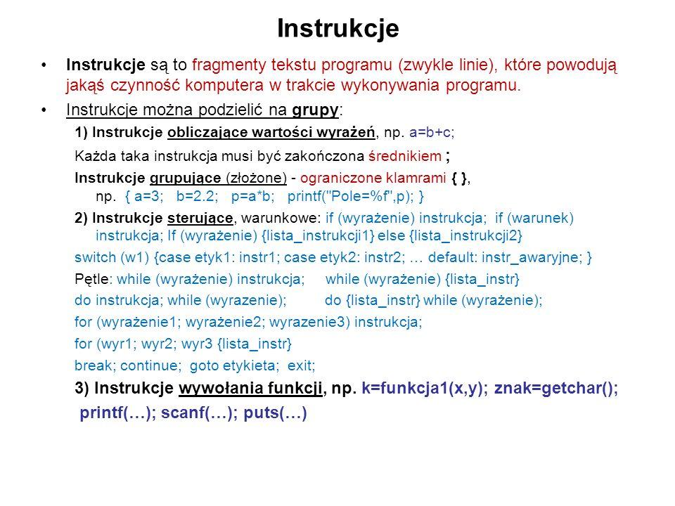 Instrukcje Instrukcje są to fragmenty tekstu programu (zwykle linie), które powodują jakąś czynność komputera w trakcie wykonywania programu. Instrukc