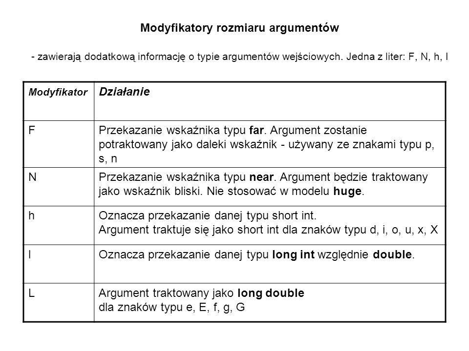 Modyfikatory rozmiaru argumentów - zawierają dodatkową informację o typie argumentów wejściowych. Jedna z liter: F, N, h, I Modyfikator Działanie FPrz