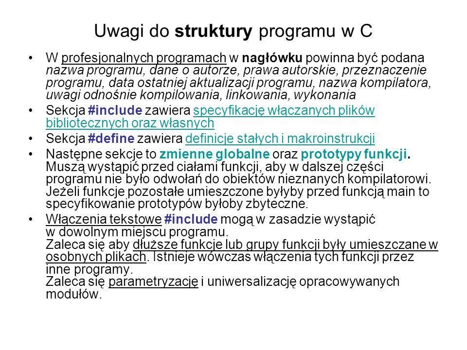 Uwagi do struktury programu w C W profesjonalnych programach w nagłówku powinna być podana nazwa programu, dane o autorze, prawa autorskie, przeznacze