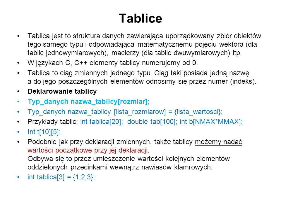 Tablice Tablica jest to struktura danych zawierająca uporządkowany zbiór obiektów tego samego typu i odpowiadająca matematycznemu pojęciu wektora (dla