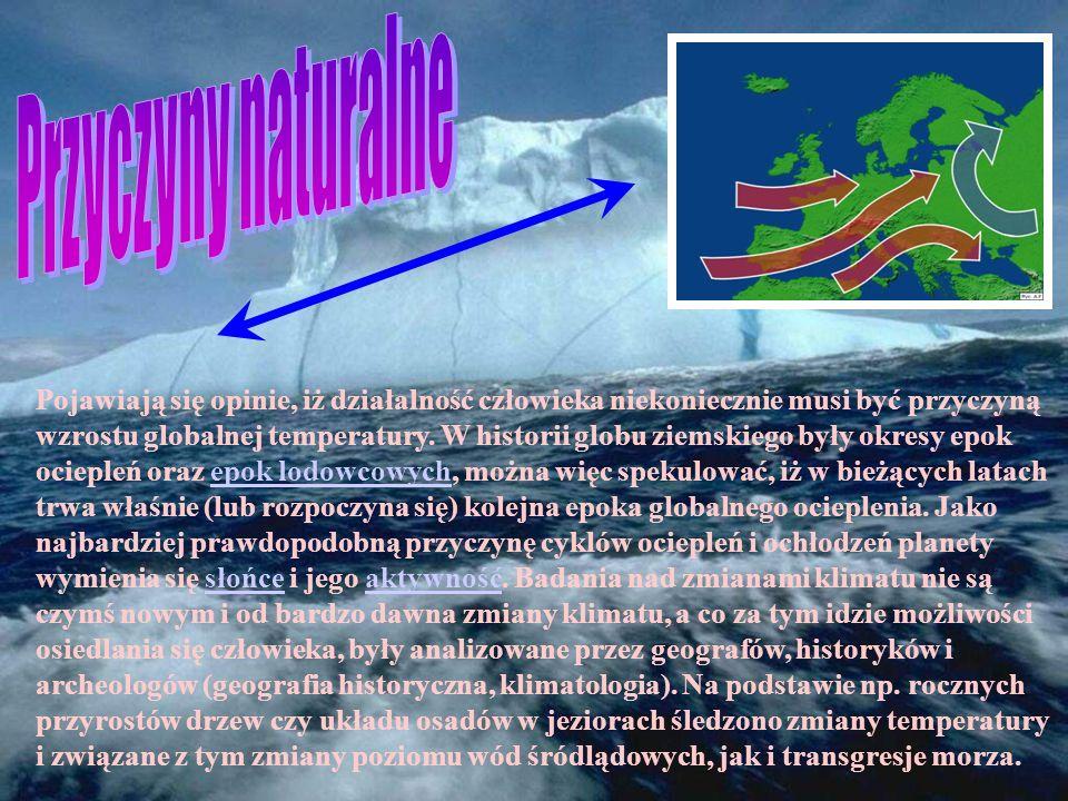 Wzrost poziomu oceanu. Jedna z możliwych zmian związanych z globalnych ociepleniem. Wzrost zanieczyszczeń w sferze globalnej Susze Powodzie Wzrost tem