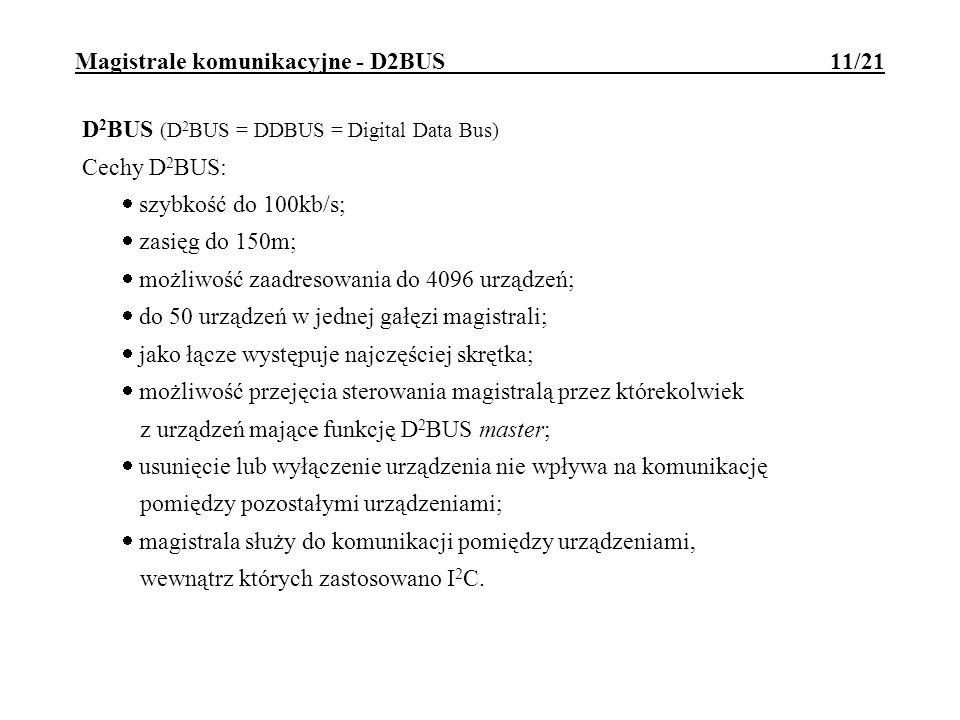 Magistrale komunikacyjne - D2BUS 12/21 Przykład ramki magistrali D2BUS: S - bit startu, P - bit parzystości, A - bit potwierdzenia, E - bit stopu Zastosowania D2BUS: łączenie niewielkiej liczby urządzeń rozmieszczonych na niedużym obszarze (np.