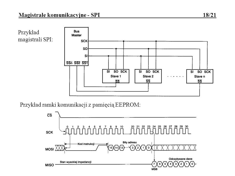 Magistrale komunikacyjne - SMBUS 19/21 SMBUS (System Management Bus) opracowanie Intela z lat 80-tych Cechy SMBUS: koncepcyjnie zbliżony do I2C; magistrala składa się z linii SMBDAT i SMBCLK; kompatybilny z I2C przy częstotliwości taktowania do 100kHz; określony jest limit czasu wykonania operacji - 25ms; taktowanie może być z przedziału 10kHz-100kHz.