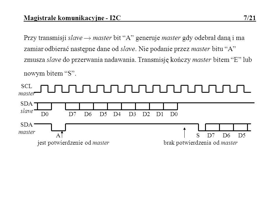 Magistrale komunikacyjne - I2C 8/21 Adresowanie urządzeń Podstawowe mechanizmy adresowania pozwalają zaadresować do 128 urządzeń na jednej magistrali.