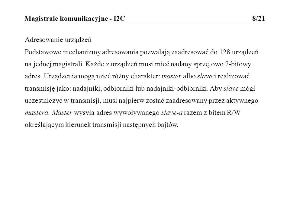 Magistrale komunikacyjne - I2C 9/21 Typowe protokoły transmisji: 1.