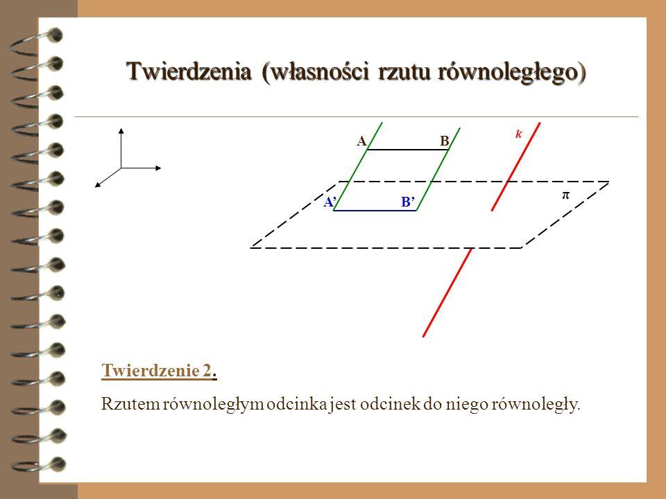 Twierdzenia (własności rzutu równoległego) π k l l Twierdzenie 1. Rzutem równoległym prostej (l) nierównoległej do kierunku rzutu jest prosta (l).