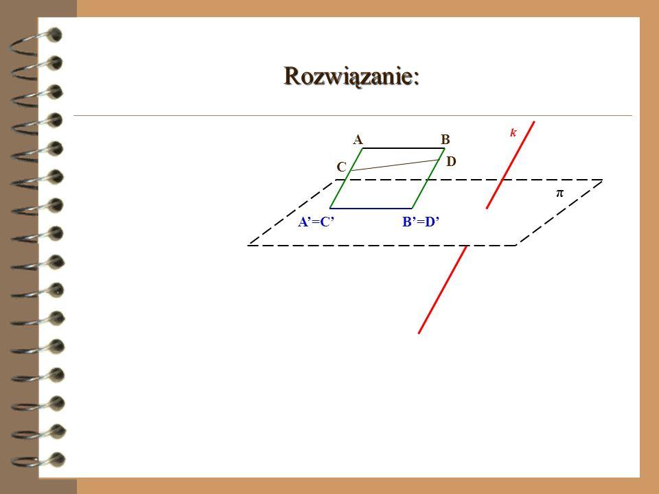Zadanie 2. Narysuj rzuty równoległe dwóch odcinków w danym układzie rzutowania, tak aby uzasadnić, iż przekształcenie to nie jest wzajemnie jednoznacz