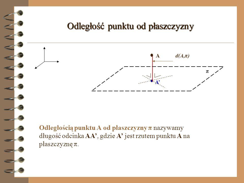 Rzut prostopadły na płaszczyznę (prosta wyznaczająca kierunek rzutu) π A l k - prosta prostopadła do rzutni l - prosta rzutująca A - rzut prostokątny