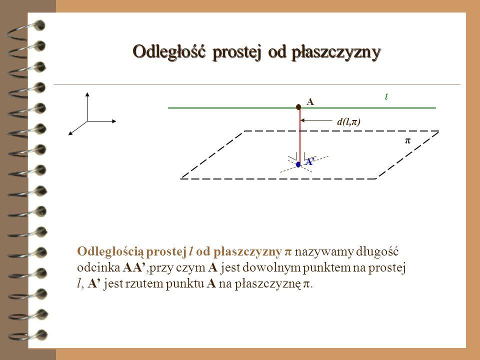 Odległość punktu od płaszczyzny π A A d(A,π) Odległością punktu A od płaszczyzny π nazywamy długość odcinka AA, gdzie A jest rzutem punktu A na płaszc
