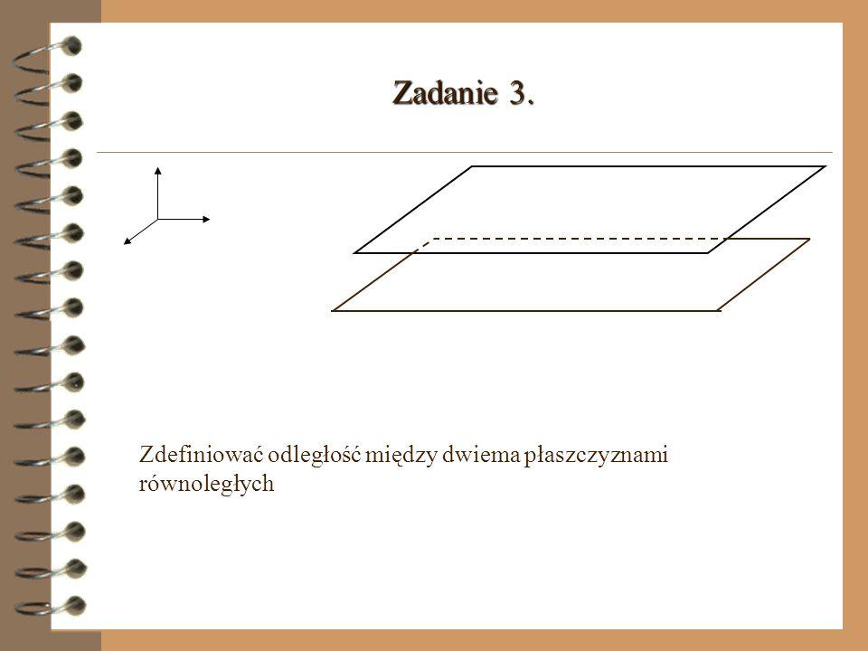 π A A d(l,π) l Odległością prostej l od płaszczyzny π nazywamy długość odcinka AA,przy czym A jest dowolnym punktem na prostej l, A jest rzutem punktu