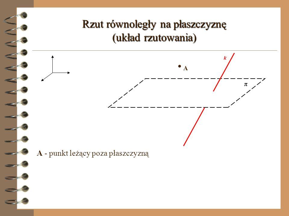 Rzut równoległy na płaszczyznę (układ rzutowania) k π π - płaszczyzna rzutu (rzutnia) k - prosta przebijająca płaszczyznę, wyznaczająca kierunek rzutu