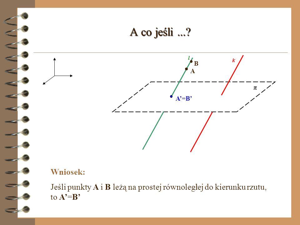Rzut prostopadły na płaszczyznę (prosta wyznaczająca kierunek rzutu) π A l k - prosta prostopadła do rzutni l - prosta rzutująca A - rzut prostokątny punktu A na płaszczyznę π A k