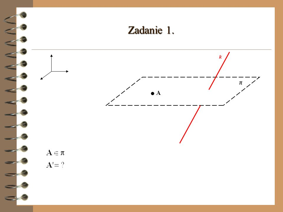 π A A d(l,π) l Odległością prostej l od płaszczyzny π nazywamy długość odcinka AA,przy czym A jest dowolnym punktem na prostej l, A jest rzutem punktu A na płaszczyznę π.