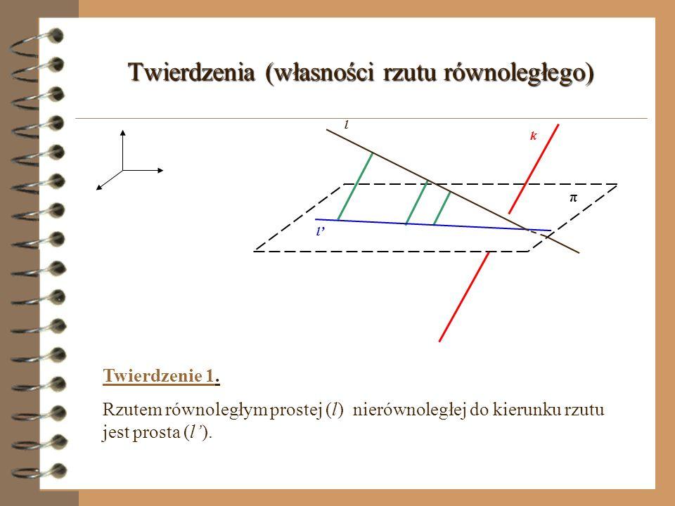 Kąt między prostą i płaszczyzną π A AB B α α - kąt między prostą l a płaszczyzną π l l l - prosta przebijająca płaszczyznę (nie jest prostopadła do rzutni) l- rzut prostej prostokątny prostej l na płaszczyznę π