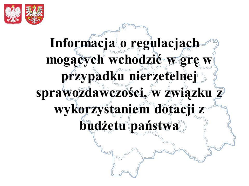 Informacja o regulacjach mogących wchodzić w grę w przypadku nierzetelnej sprawozdawczości, w związku z wykorzystaniem dotacji z budżetu państwa