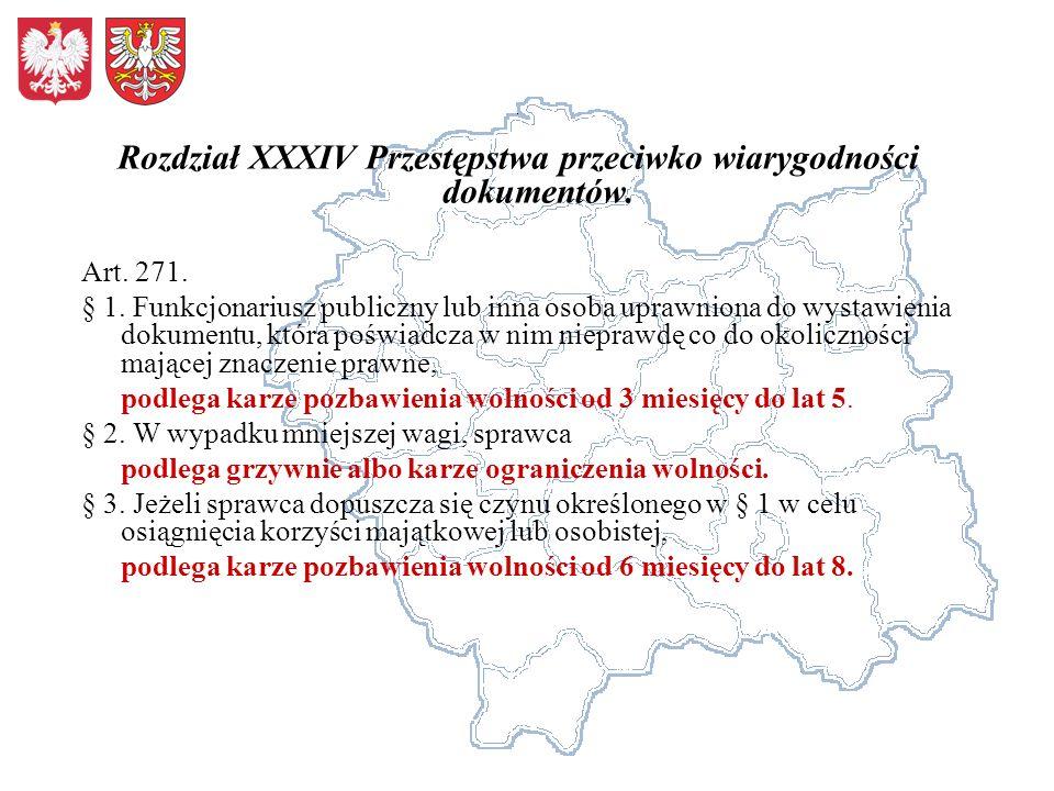 Rozdział XXXIV Przestępstwa przeciwko wiarygodności dokumentów.