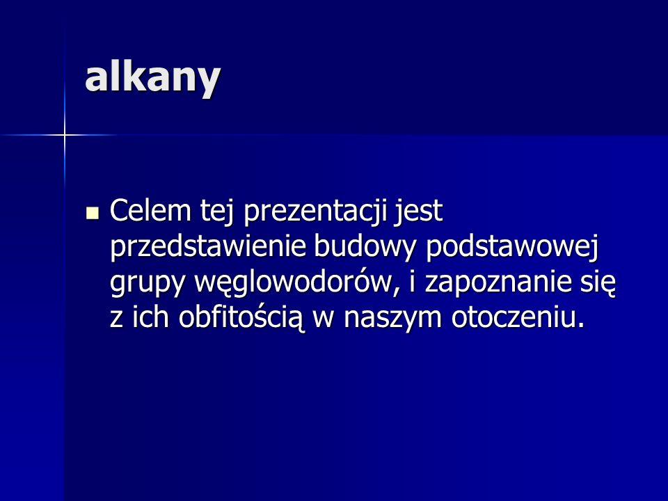 Plan lekcji Co to są alkany.Co to są alkany. Budowa alkanów.