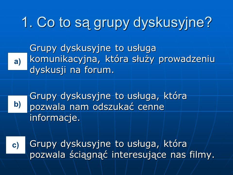 DOBRZE!!.Grupy dyskusyjne to usługa komunikacyjna, która służy prowadzeniu dyskusji na forum.