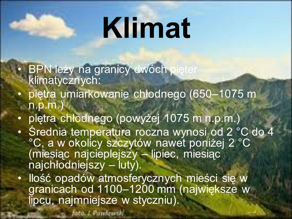 Klimat BPN leży na granicy dwóch pięter klimatycznych: piętra umiarkowanie chłodnego (650–1075 m n.p.m.) piętra chłodnego (powyżej 1075 m n.p.m.) Śred